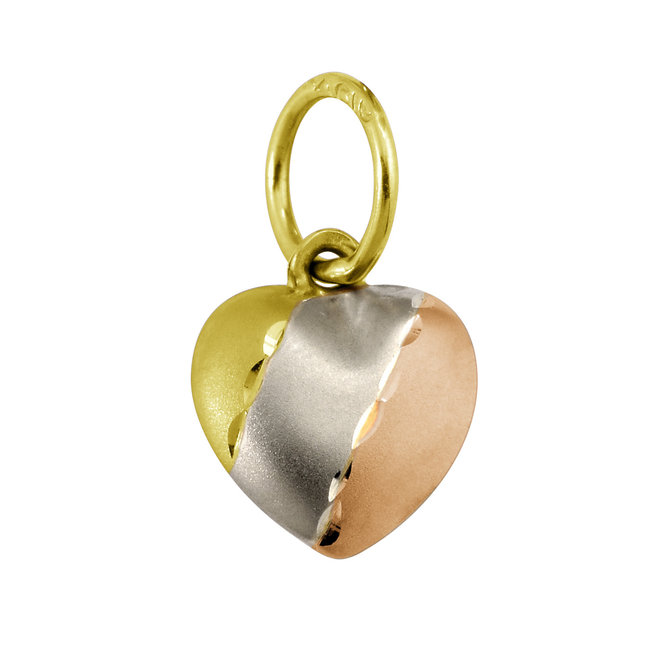 Mini-heart pendant for children - 10K 3-tone gold (yellow, white and pink)
