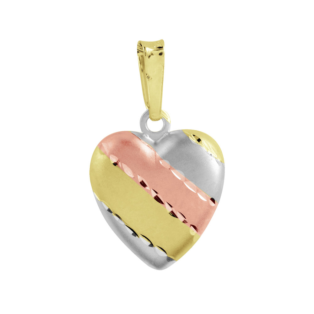 Heart pendant for children - 10K 3-tone Gold (yellow, white and pink)