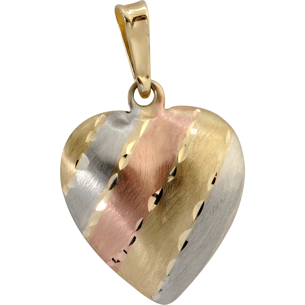 Heart pendant - 10K 3-tone Gold (yellow, white and pink)