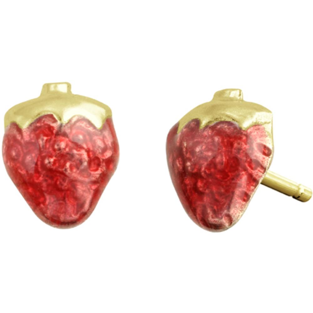 Boucles d'oreilles fraises en émail à tiges fixes pour enfants - Or jaune 10K