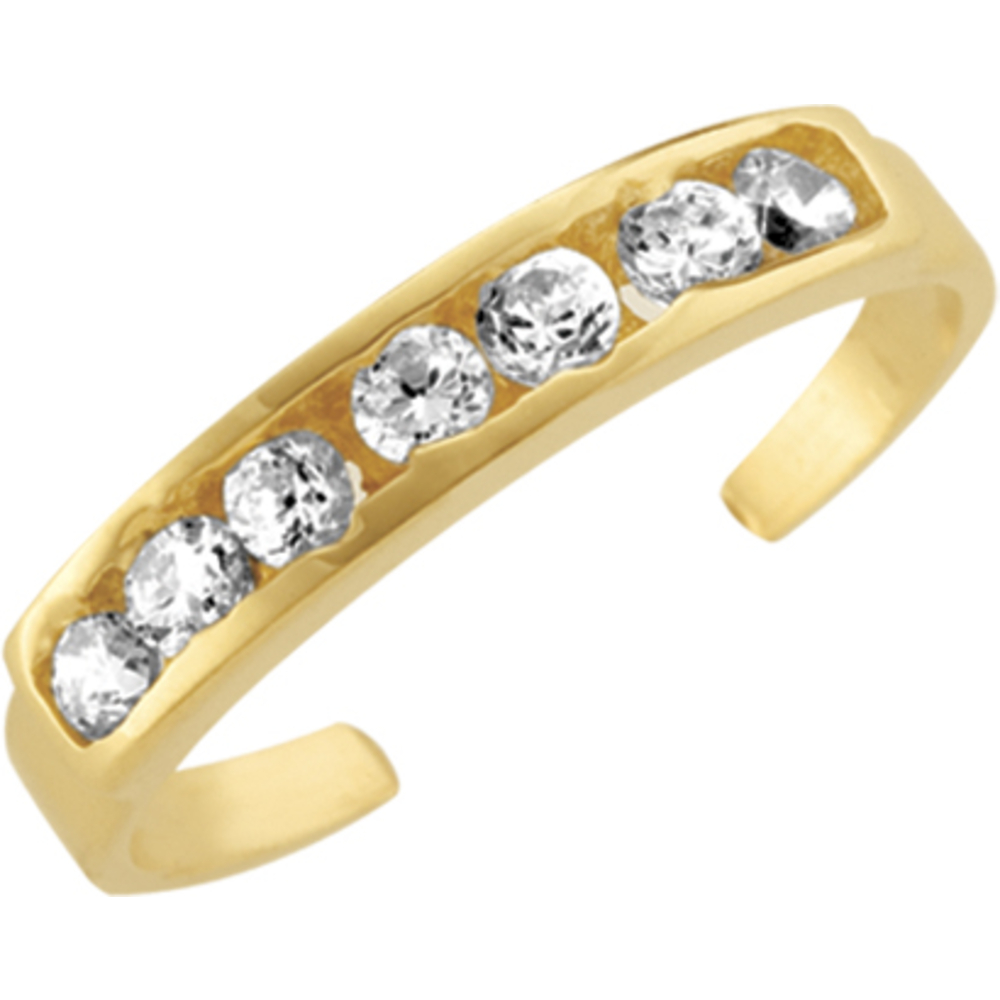 Toe ring with Cubic Zirconia - 10K yellow Gold