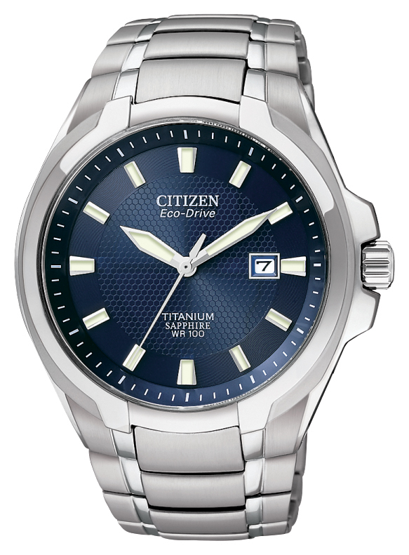 Eco-Drive watch for men in titanium. Fold-over clasp with push button. Date. Sapphire crystal