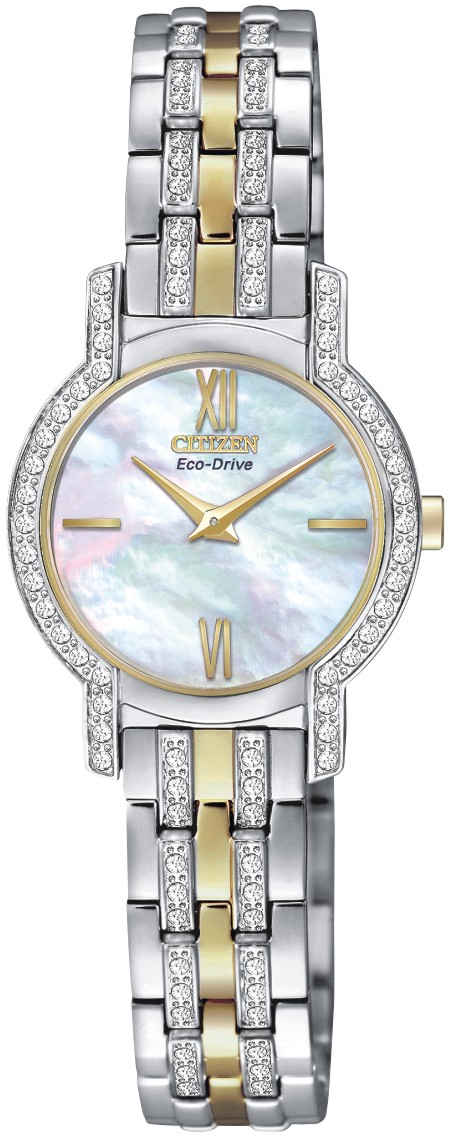 Eco-Drive watch for women - Stainless steel with crystals.
