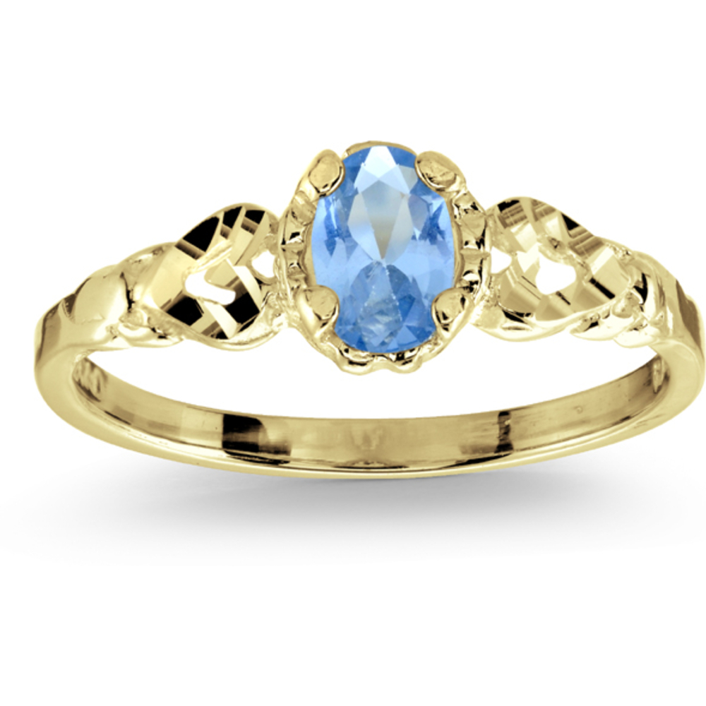Ring with synthetic birth stone - 10K yellow Gold