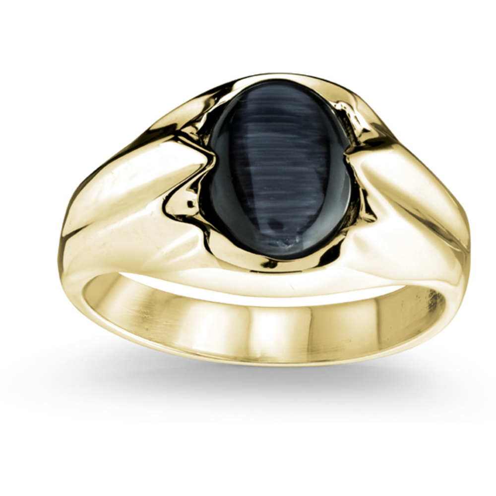 Cat's eye ring for men - 10K yellow Gold