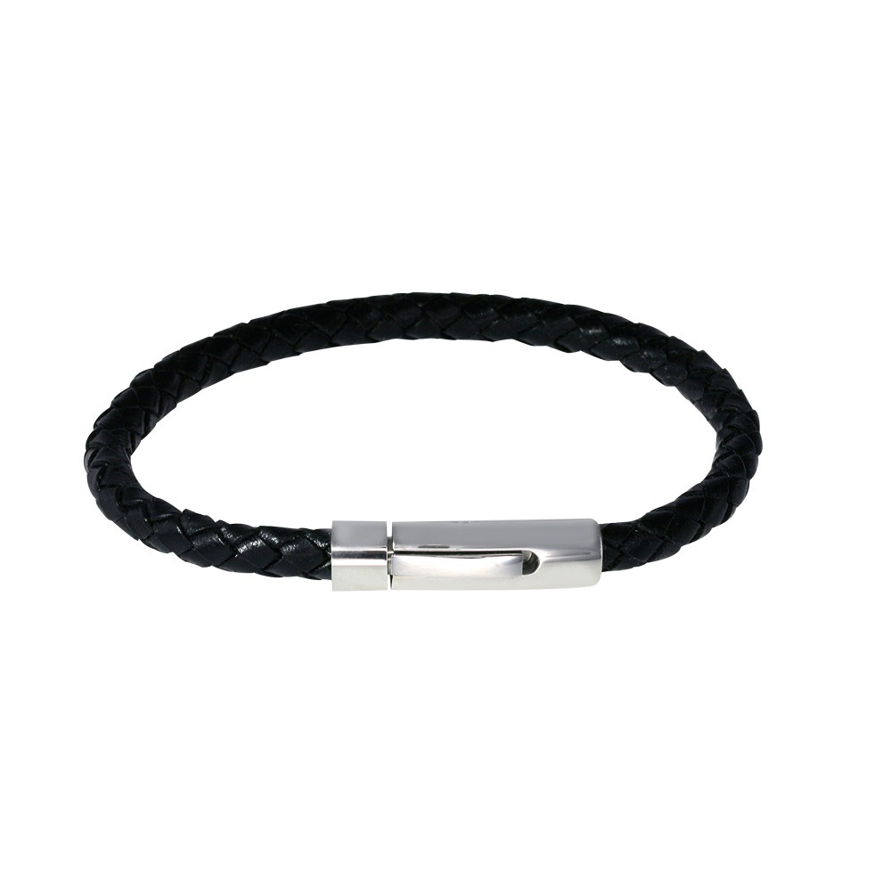 Bracelet en cuir noir et acier inoxydable