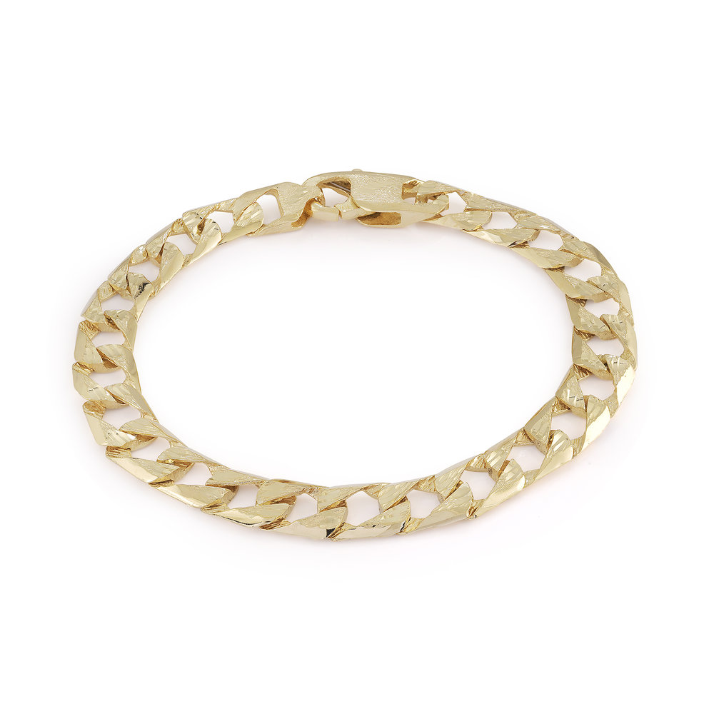 Bracelet gourmette 8'' pour homme - Or jaune 10K