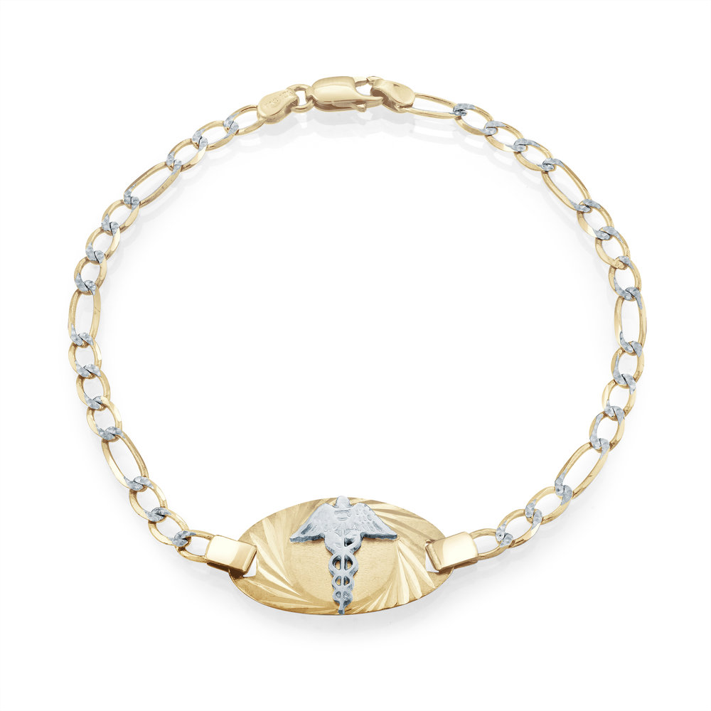 7'' Medical bracelet for women -2 tone 10K Gold (yellow and white)