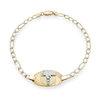 Bracelet médical 7'' pour femmes - Or 2-tons 10K (jaune et blanc)