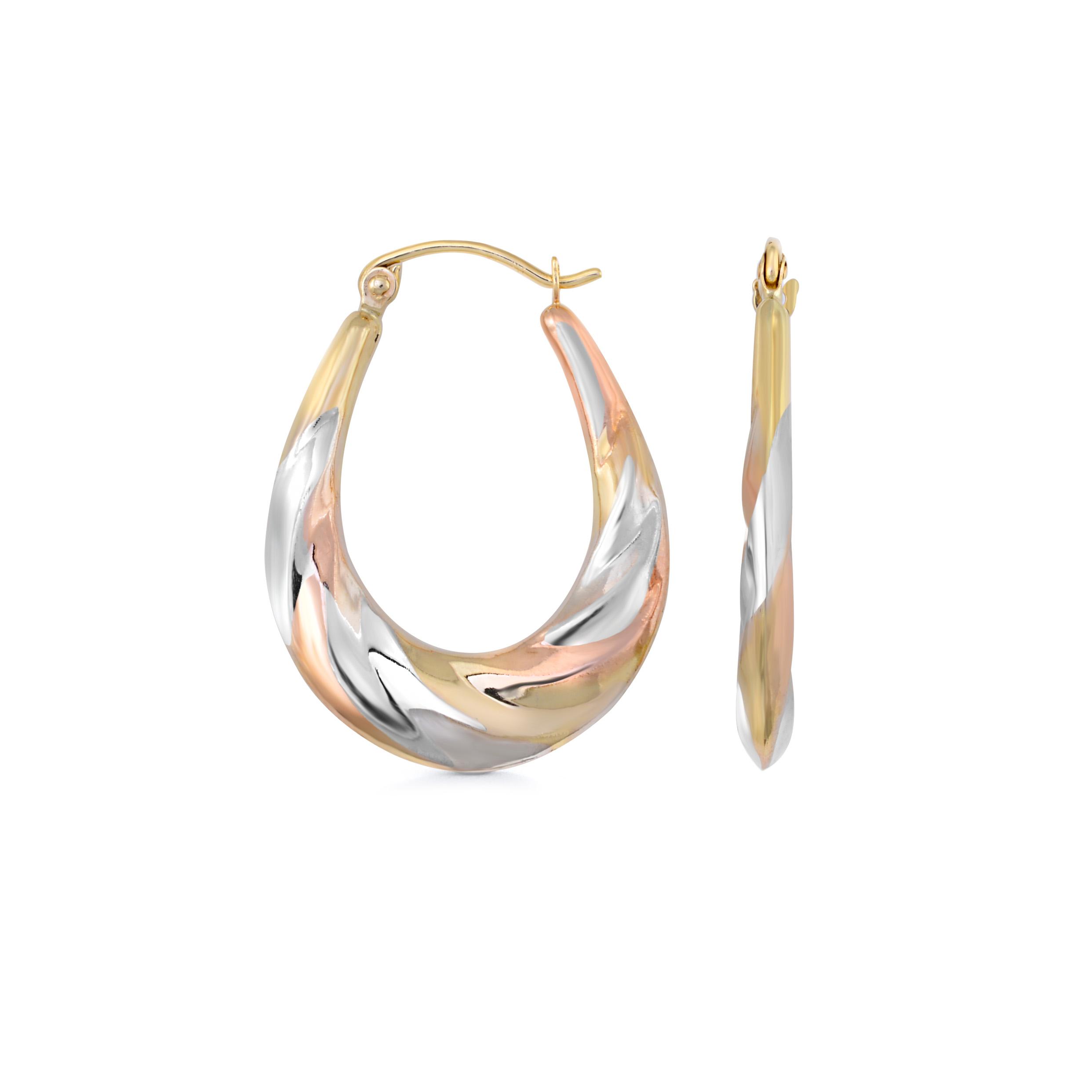 Boucles d'oreilles anneaux ovales - Or 3-tons 10K (jaune blanc et rose)