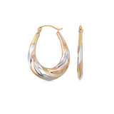 Oval hoop earrings - 10K 3 tone Gold (yellow white and rose)