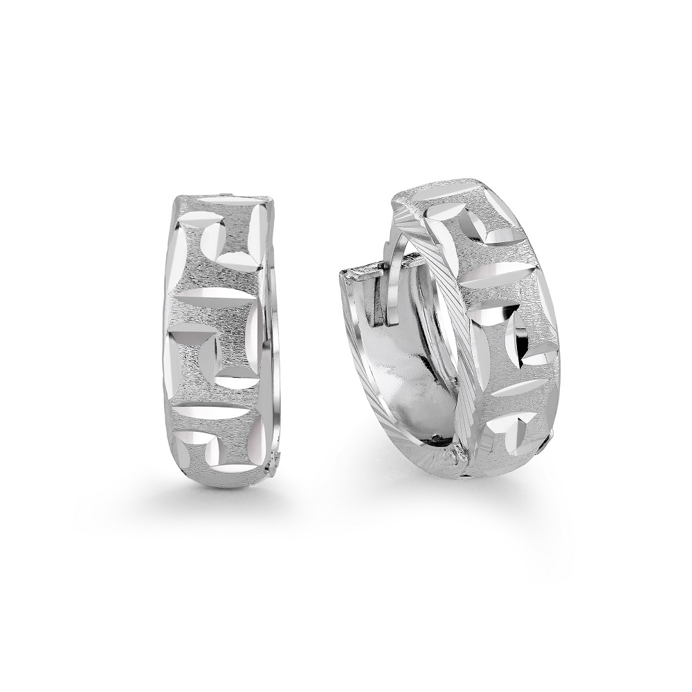 Huggies earrings for woman - 10K white Gold