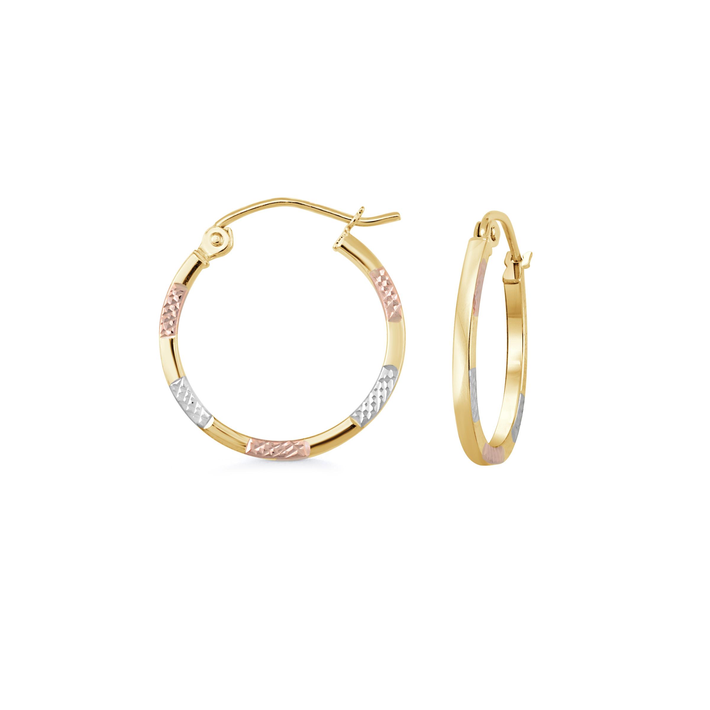 Boucles d'oreilles anneaux - Or 3-tons 10K (jaune blanc et rose)