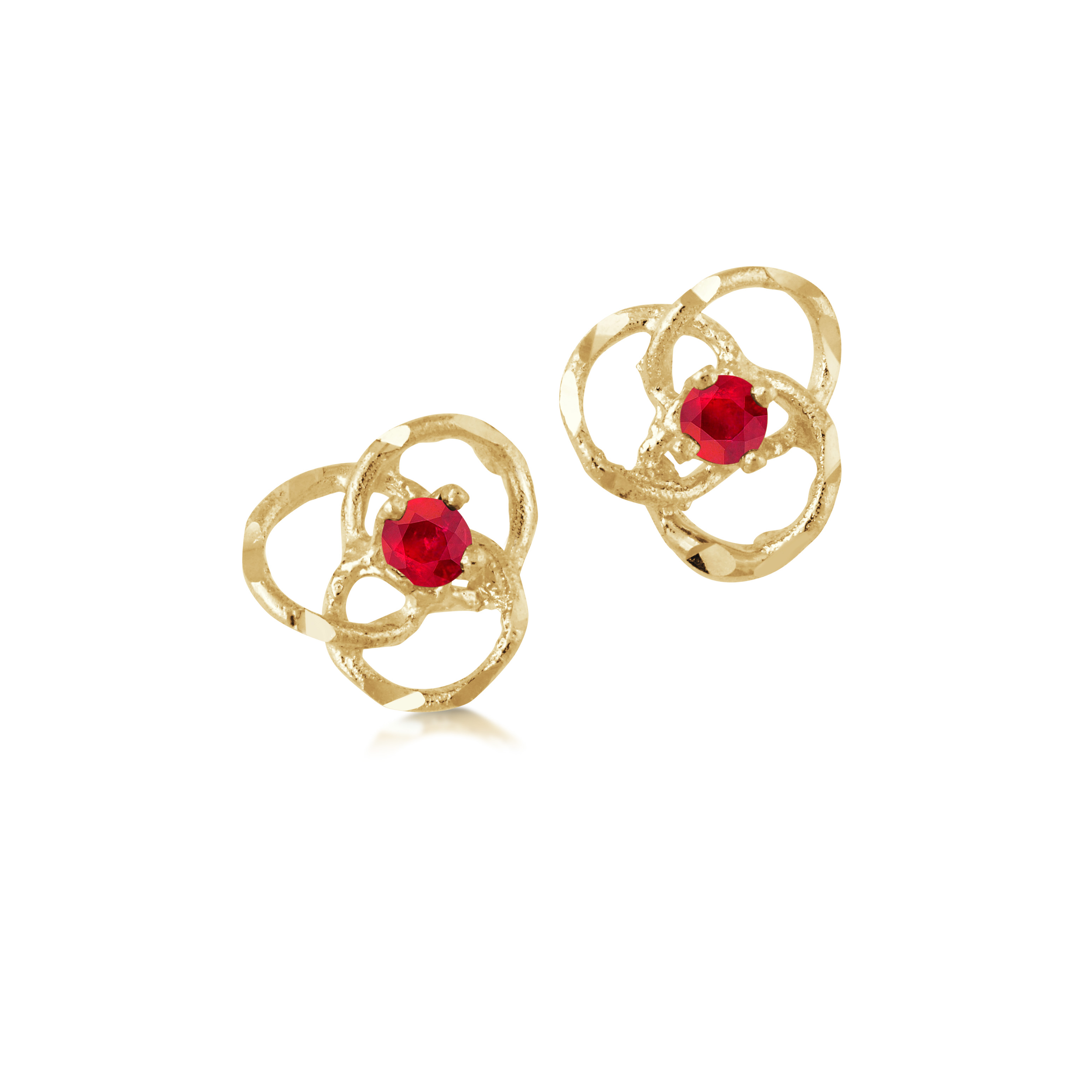 Flower stud earrings with ruby - 10K yellow Gold