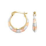 Small hoop earrings - 10K 3 tone Gold (yellow white and rose)