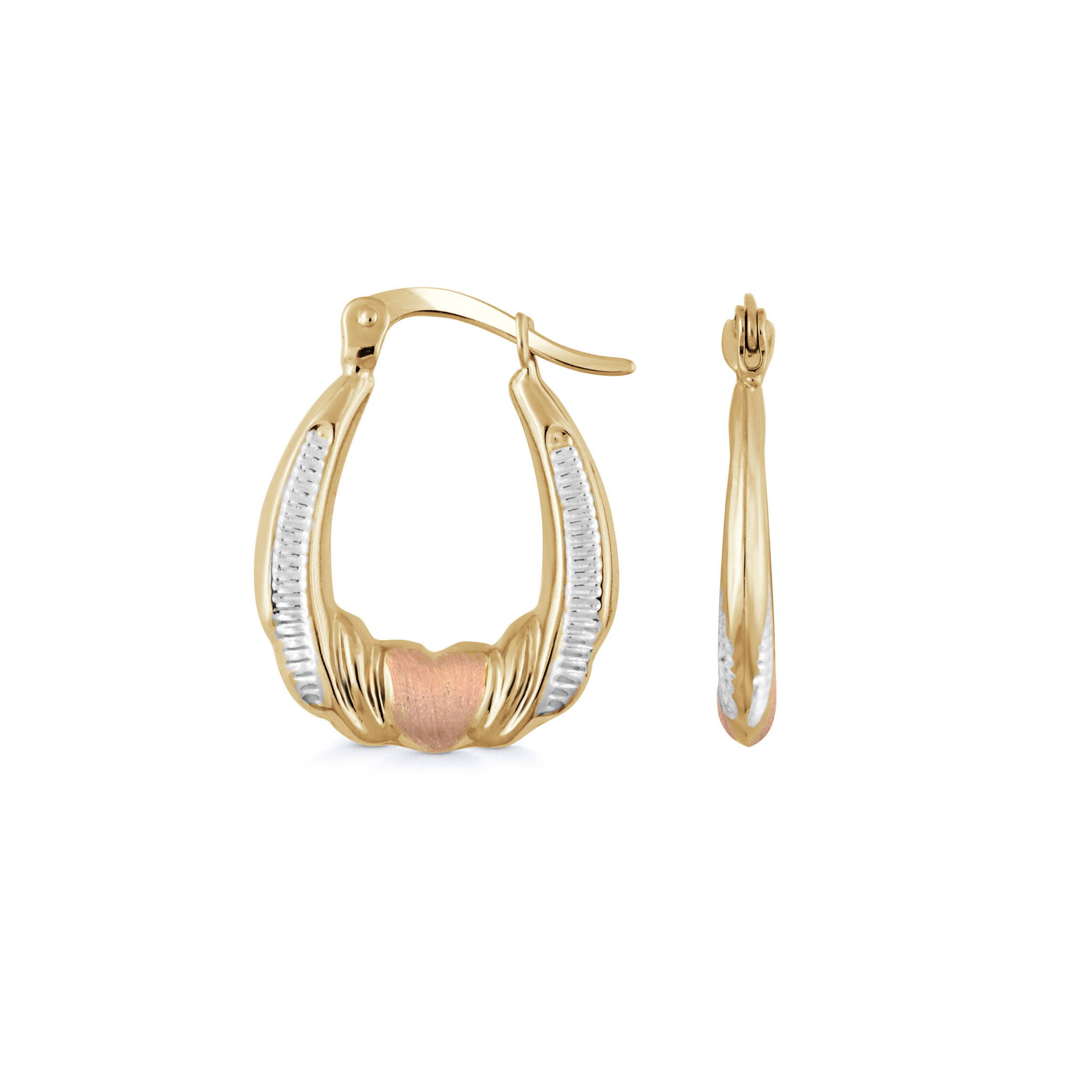 Oval hoop earrings - 10K 3-tone Gold (yellow white and rose)