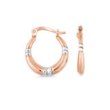Hoop earrings - 10K 2 tone Gold (rose and white)