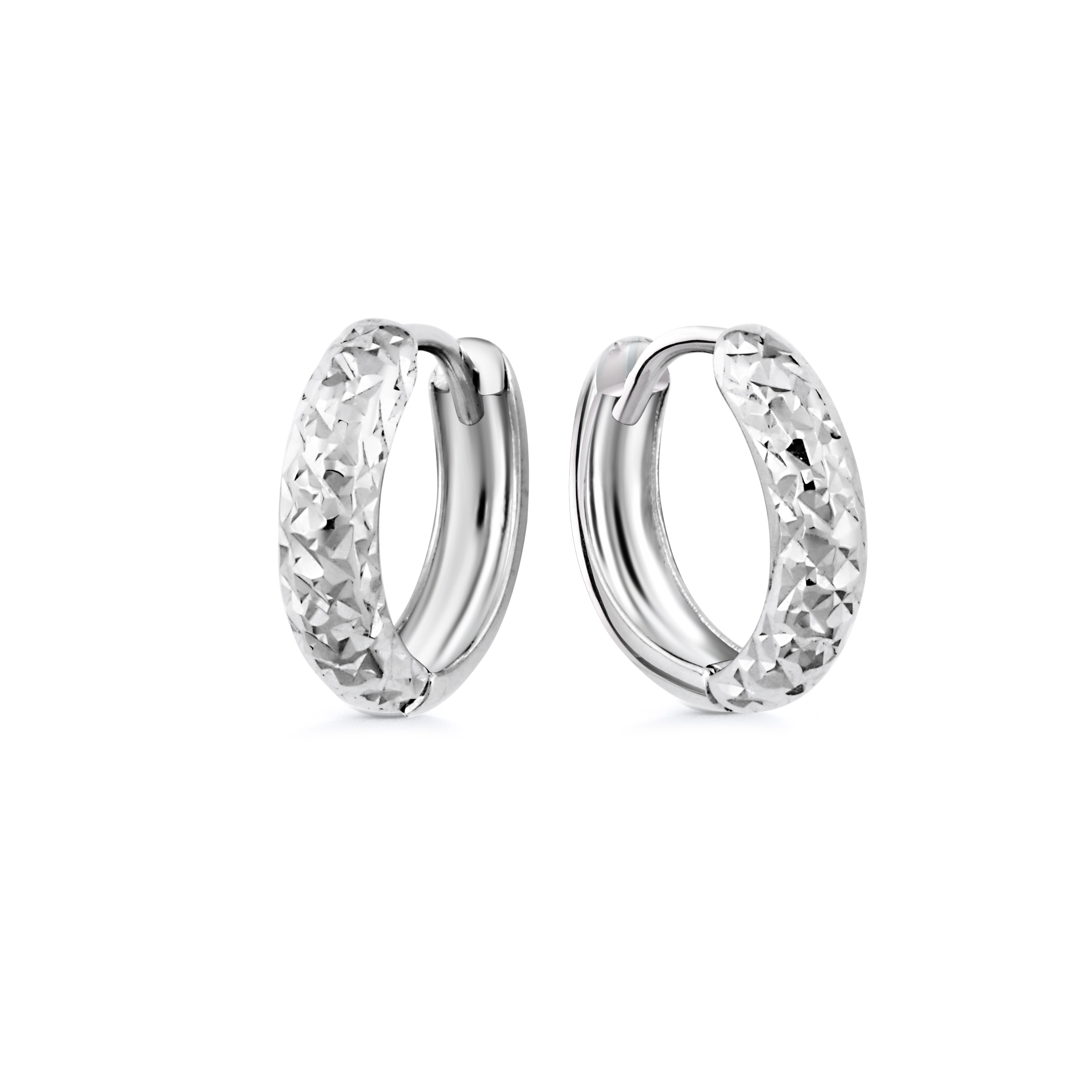 Hoop earrings for children - 10K white Gold