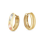 Huggies earrings for children - 10K 3 tone Gold (yellow white and rose)