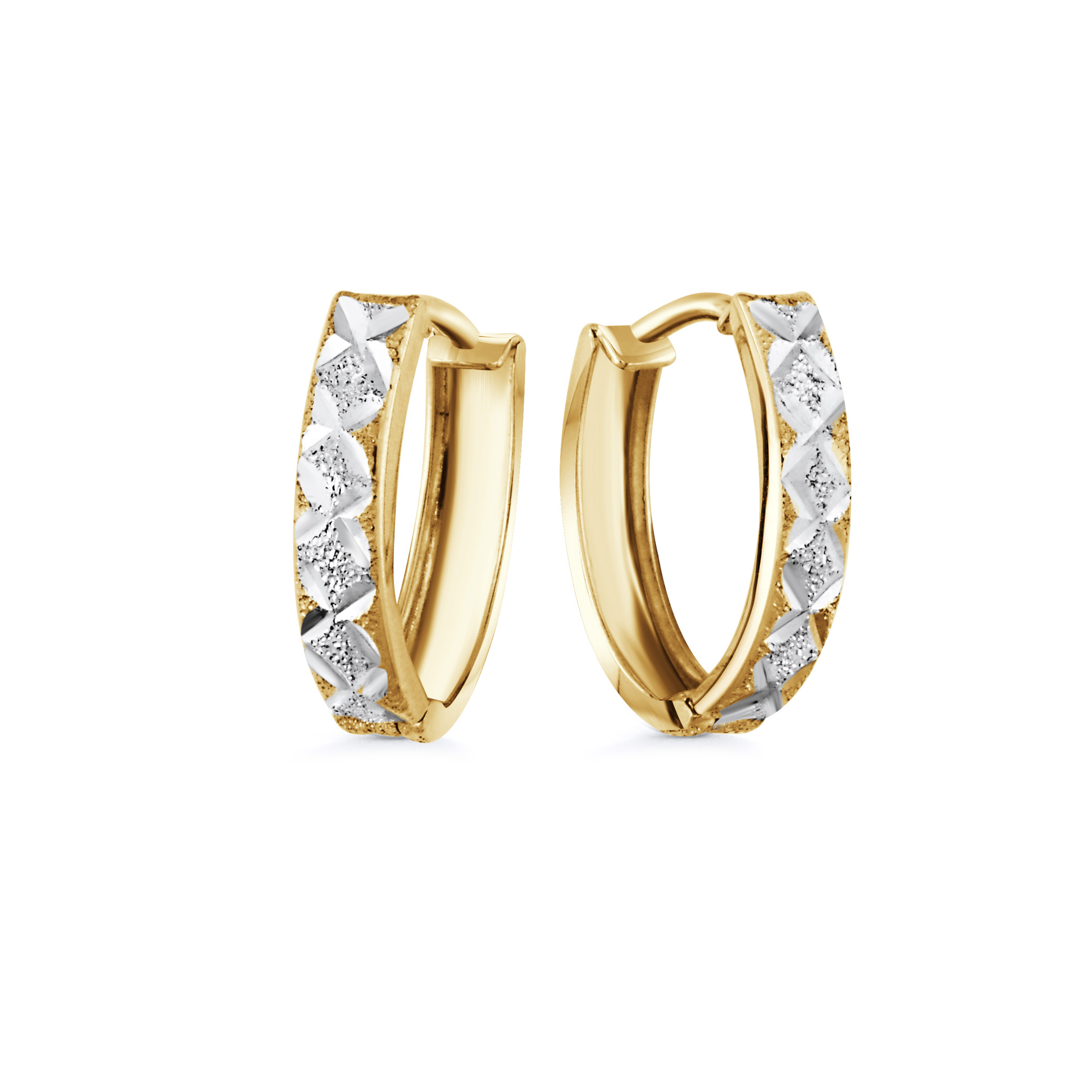 Huggies earrings for women - 10K 2-tone Gold (yellow and white)