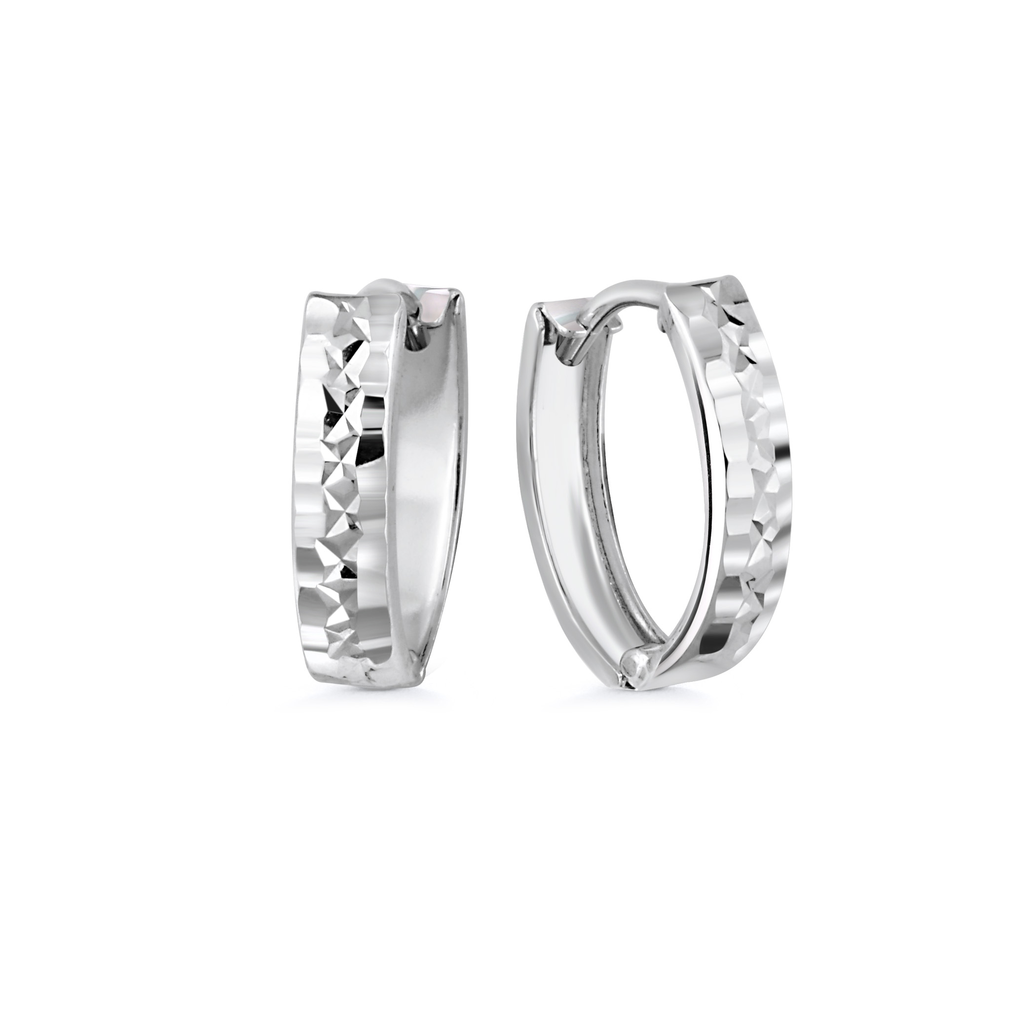 Oval huggies earrings for children - 10K white Gold