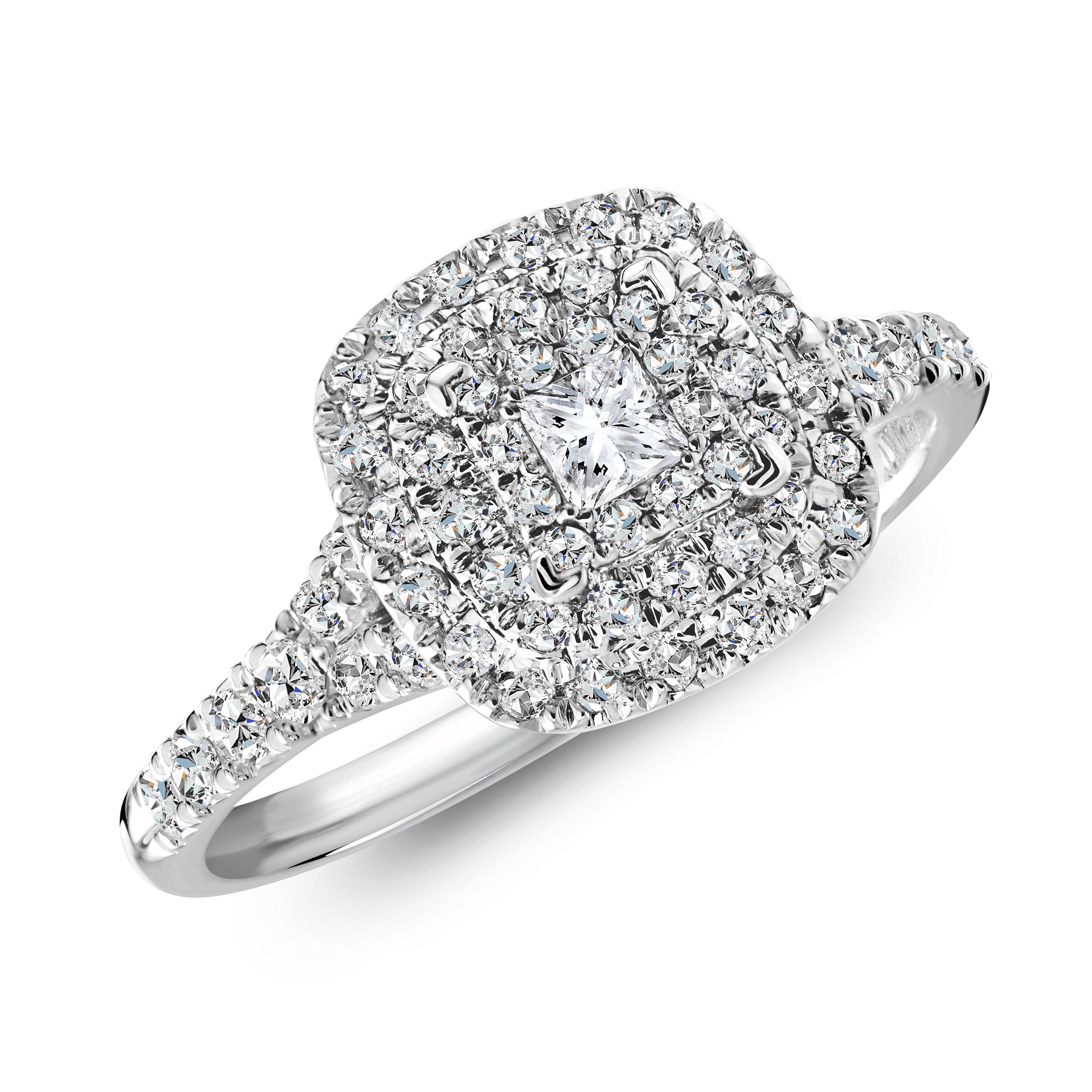 Bague de fiancailles - Or blanc 10K & Diamants totalisant 0.50 Carat