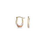 Oval hoop earrings for children - 10K 3-tone gold (yellow white and pink)