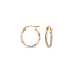 Hoop earrings for children - 10K 3 tone Gold (yellow white and rose)