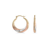 Hoop earrings - 10K 3-tone Gold (yellow white and rose)