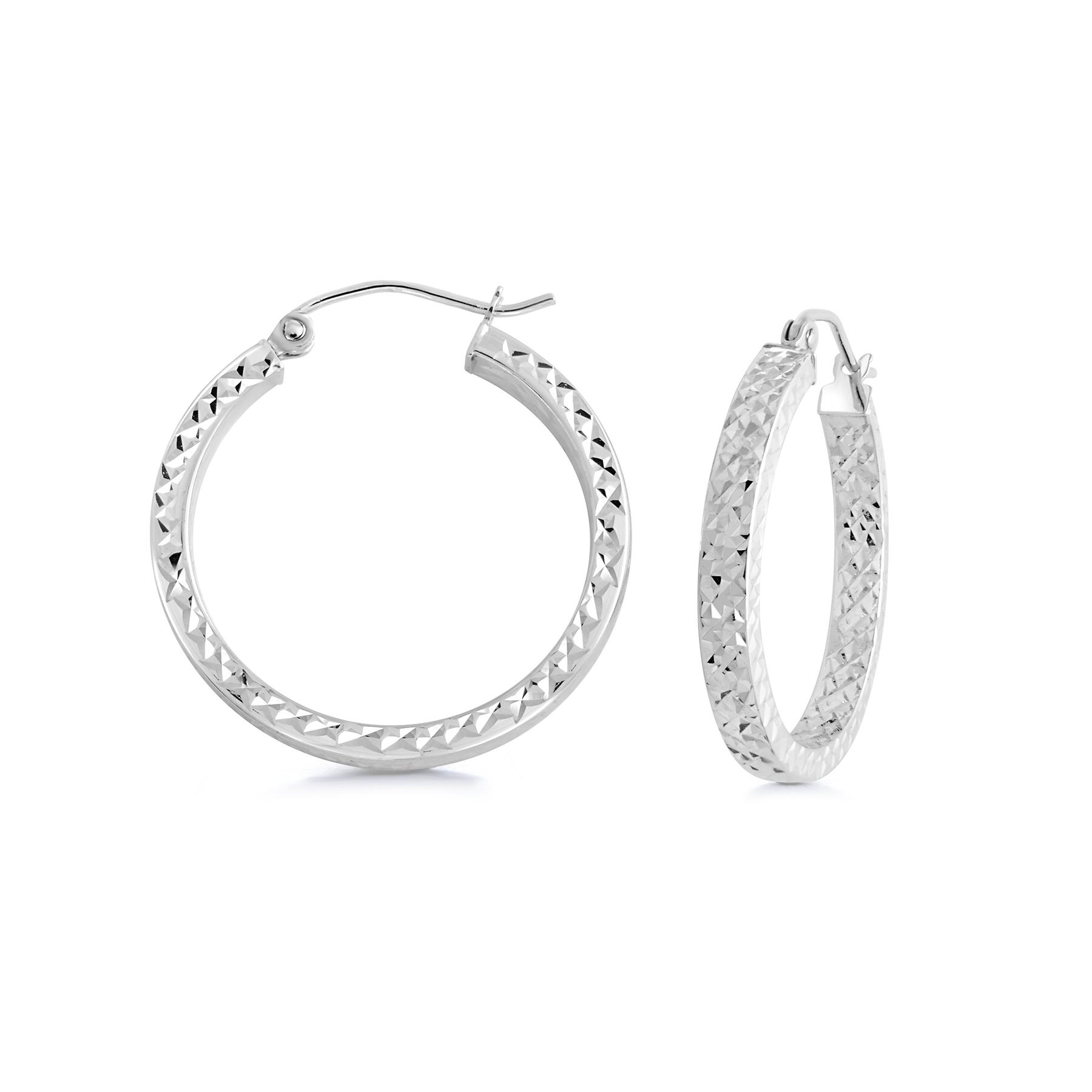 Boucles d'oreilles anneaux - Or blanc 10K