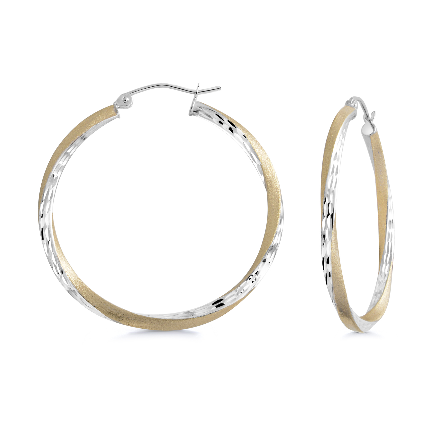 Hoop earrings - 10K 2 tone Gold (yellow and white)