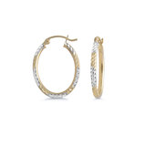 Oval hoop earrings - 10K 2 tone Gold (yellow and white)