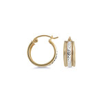 Huggies earrings - 10K 2 tone Gold (yellow and white)
