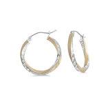 Boucles d'oreilles anneaux - Or 2-tons 10K (jaune et blanc)