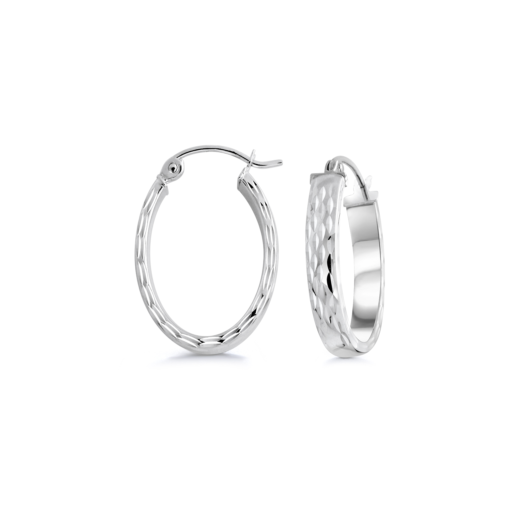 Oval hoop earrings with a diamond cut finish - 10K white Gold