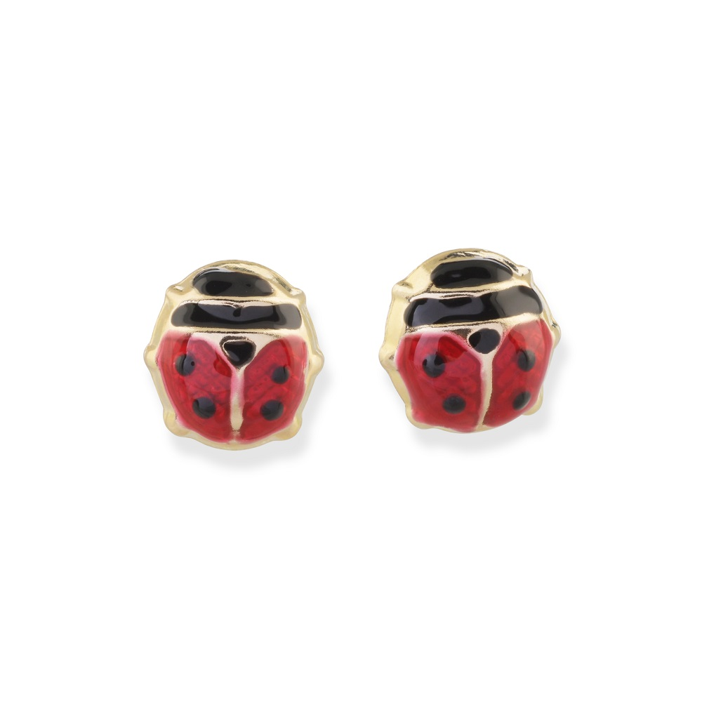 Ladybug stud earrings for child - 10K yellow Gold & Enamel