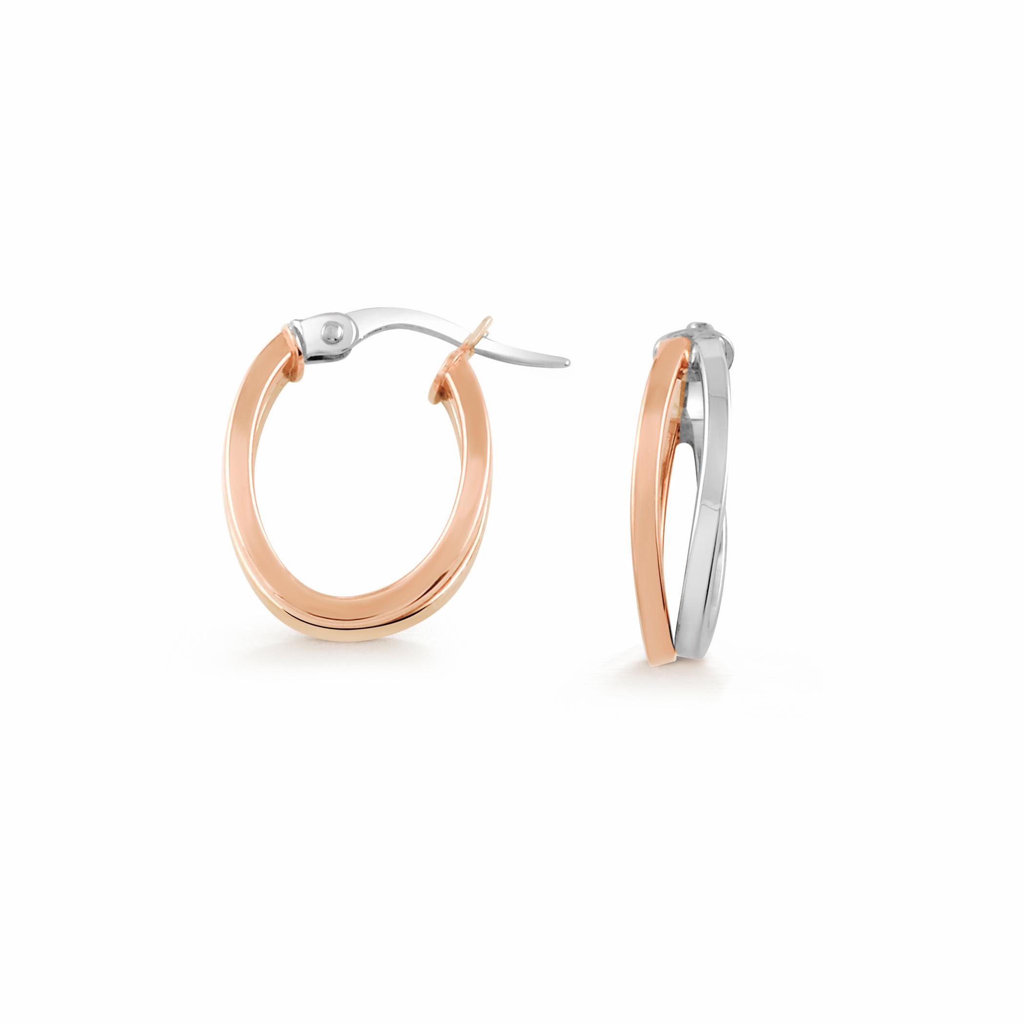 Boucles d'oreilles anneaux ovales - Or 2-tons 10K (blanc et rose)
