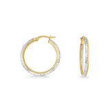 Hoop earrings - 10K 2 tone Gold (yellow and white)