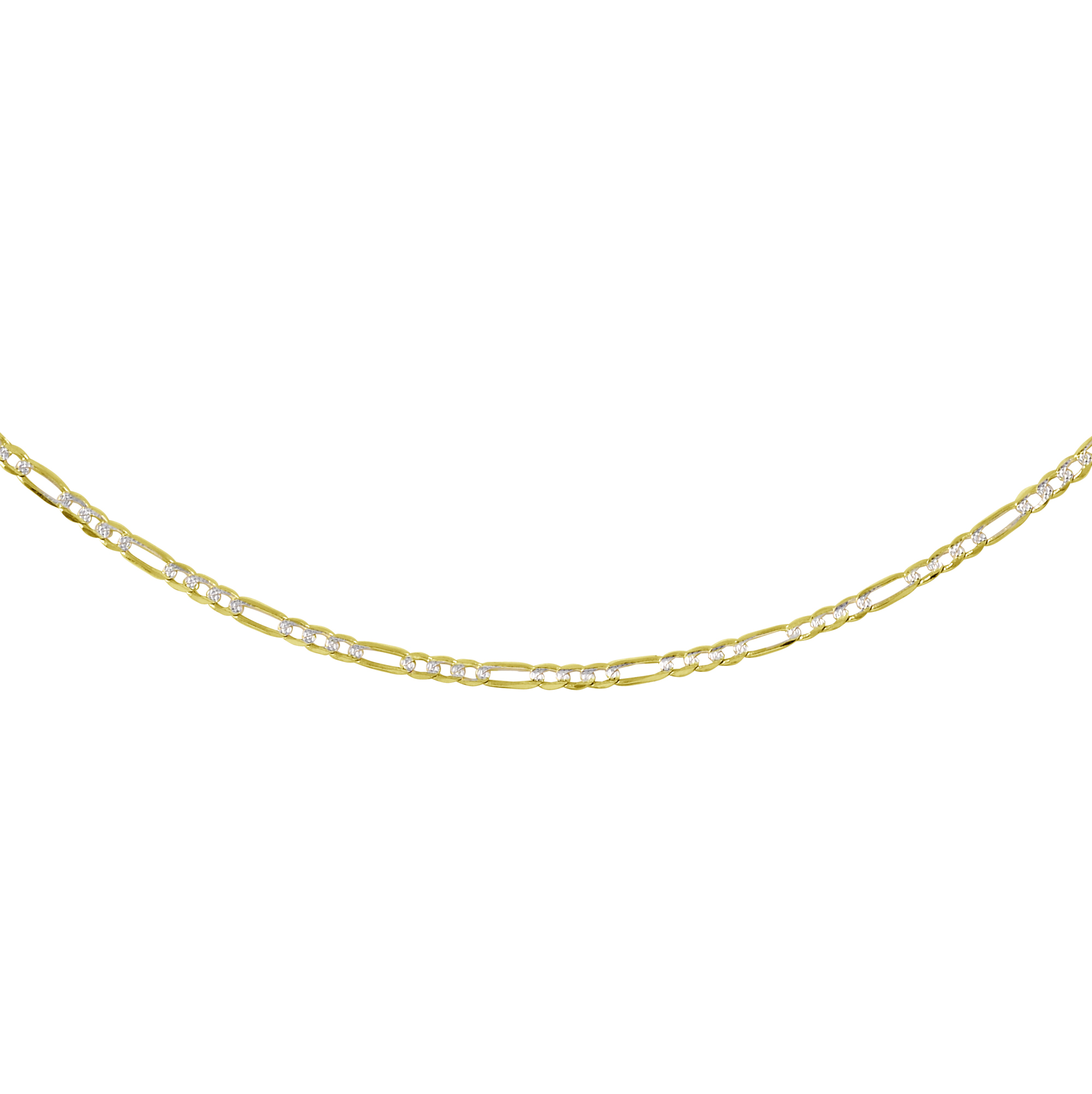 7'' Figaro bracelet - 10K 2-tone Gold (yellow and white)