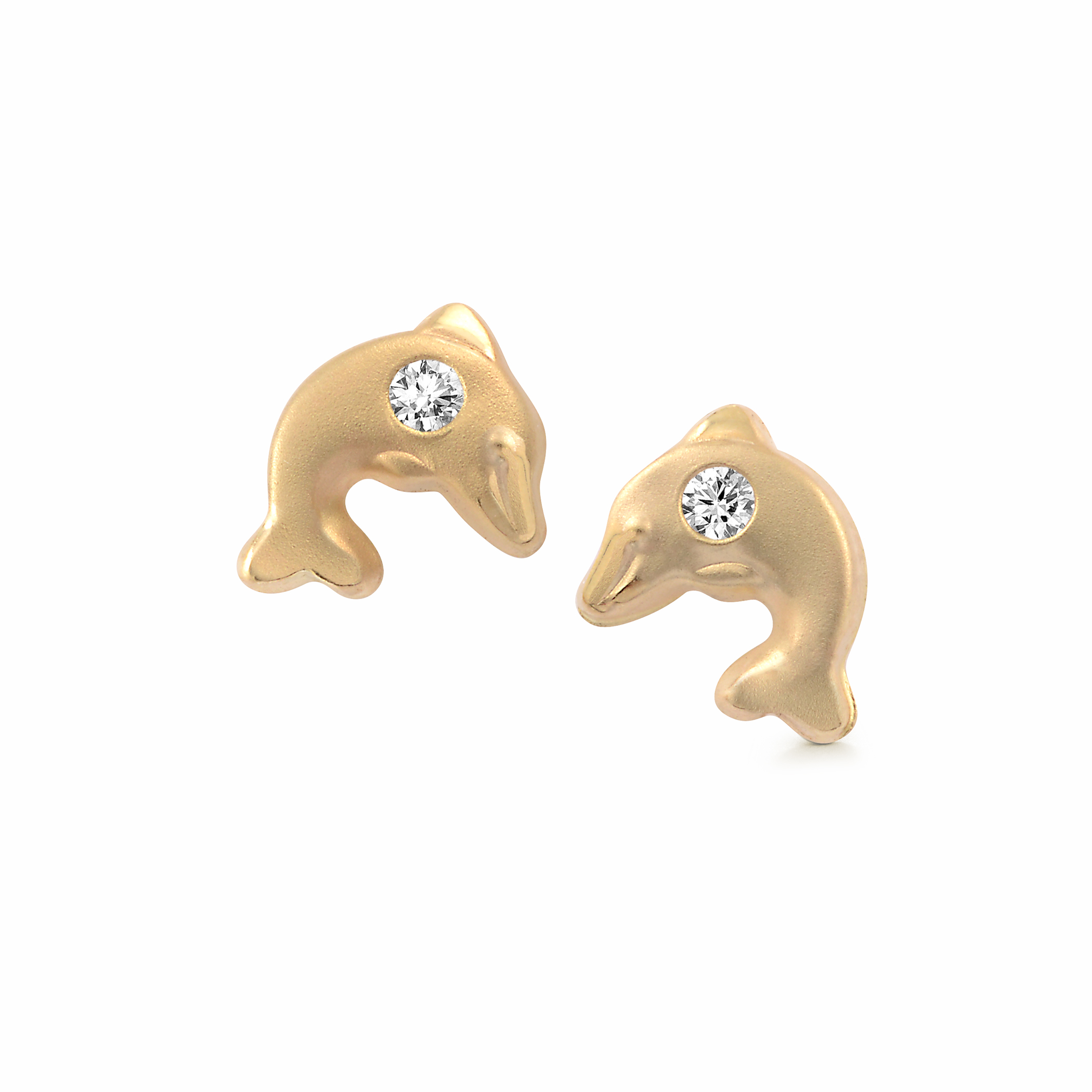 Dolphin stud earrings with cubic zirconia for babies/children - 10K yellow Gold