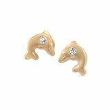 Boucles d'oreilles dauphins à tiges fixes serties de zircons cubiques pour bébés/enfants - Or jaune 10K