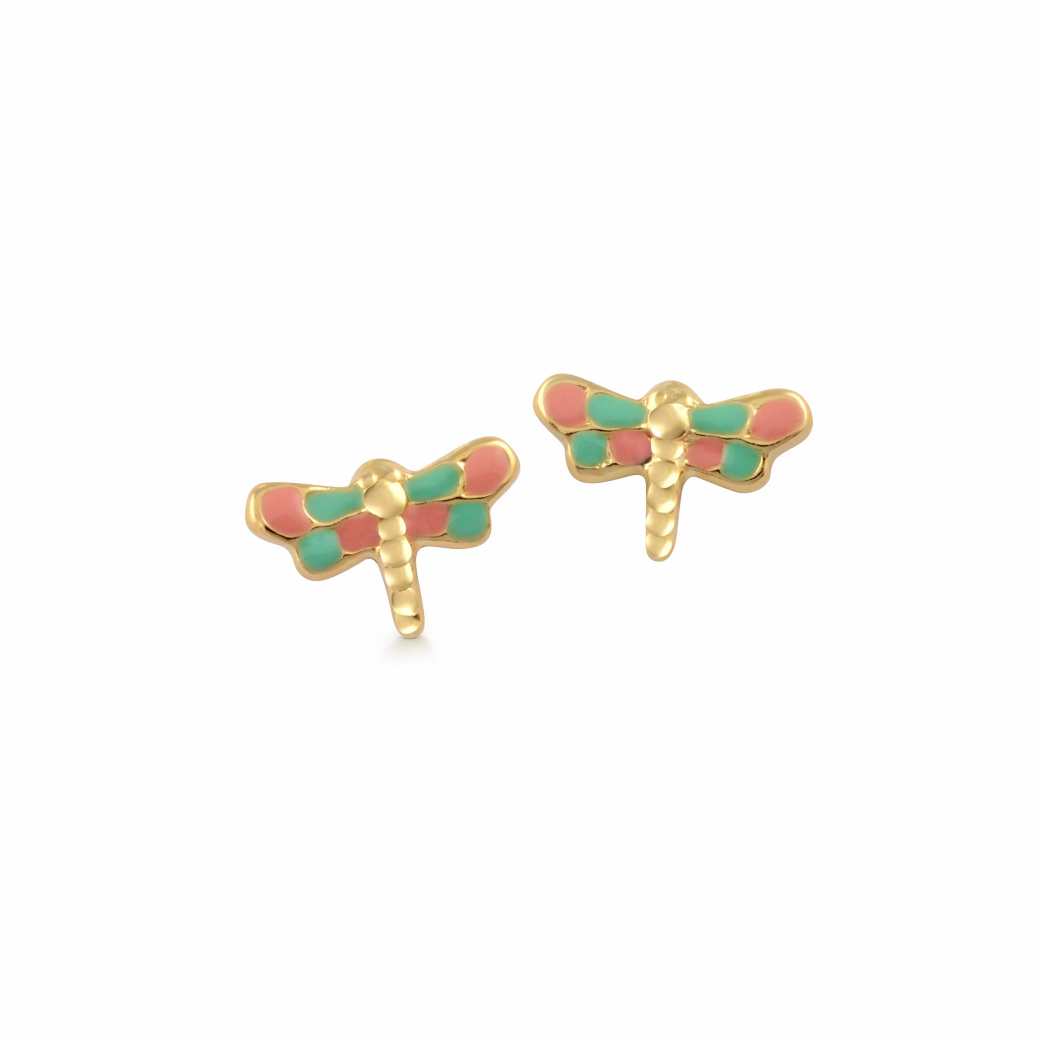 Boucles d'oreilles libellules en émail à tiges fixes pour bébés/enfants - Or jaune 10K
