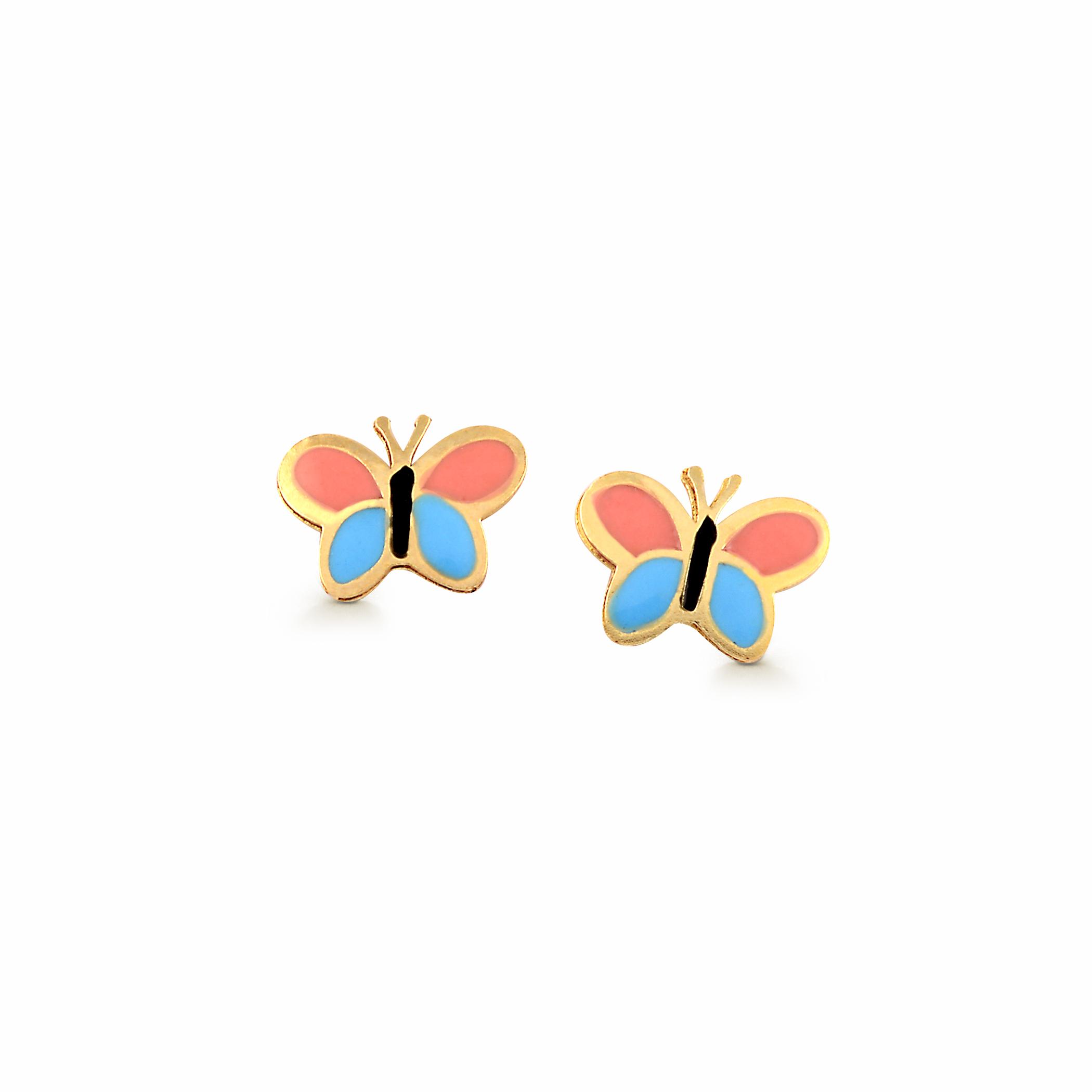 Boucles d'oreilles papillons en émail à tige fixes pour bébés/enfants - Or jaune 10K