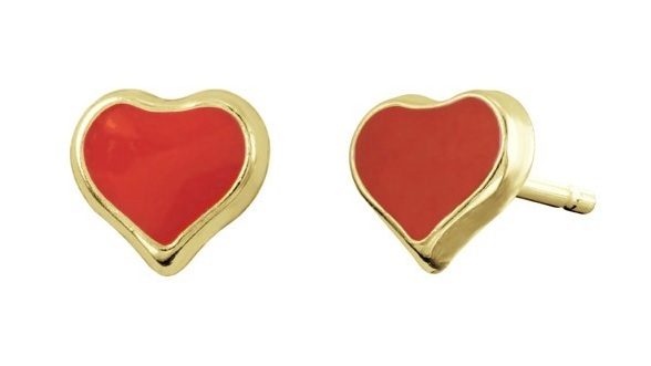 Heart enamel stud earrings for children - 10K yellow Gold