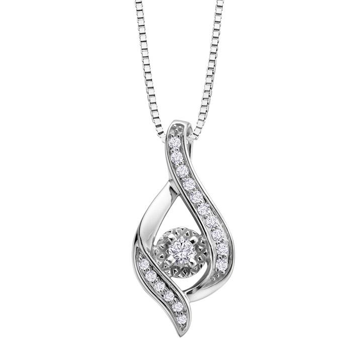 Pendentif - Or blanc 10K &Diamants Canadiens totalisant 0.25 Carat