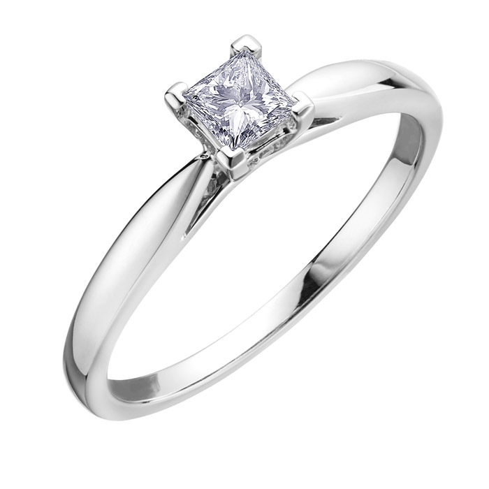 Bague de fiancailles - Or blanc 10K & Diamant solitaire Canadien coupe princesse de 0.25 Carat