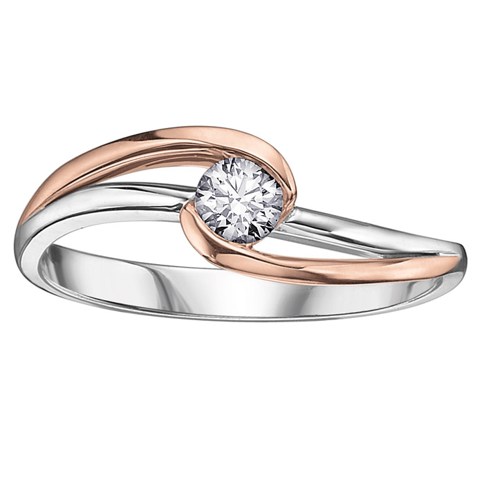 Engagement ring - 10K 2-tone Gold (pink and white) & Solitaire Canadian diamond 0.06 Carat T.W.