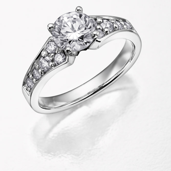 Bague de fiancailles - Or blanc 14K & Diamants canadiens totalisant 0.50 Carat