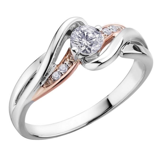 Bague de fiançailles - Or 2-tons 10K (blanc et rose) & Diamants Canadiens totalisant 0.25 Carat