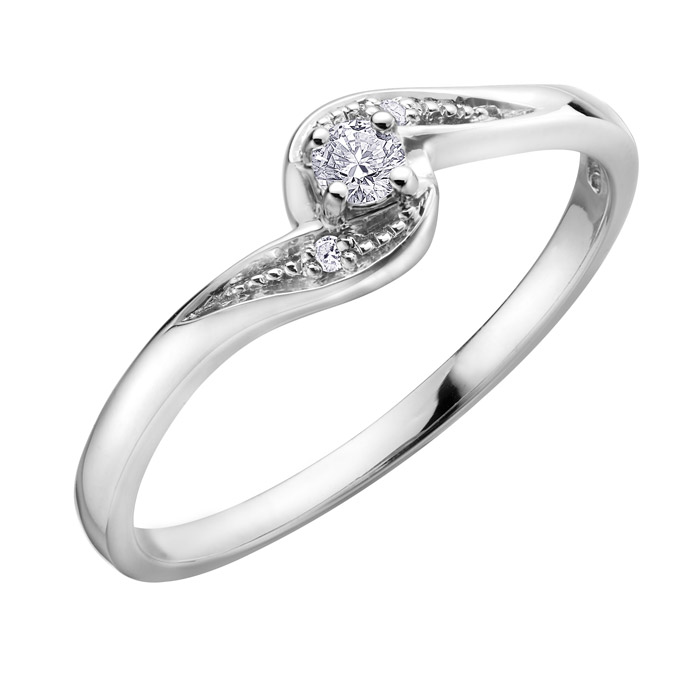 Engagement ring - 10K white Gold & Canadian diamond 0.07 Carat